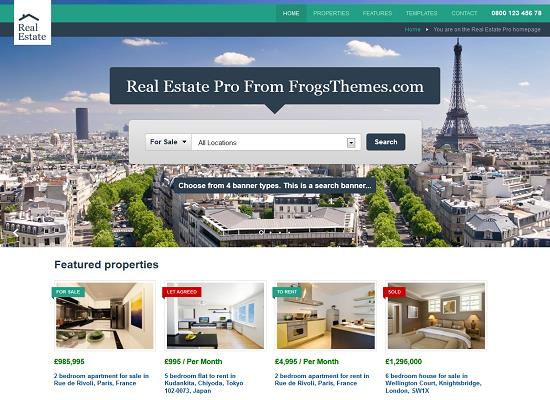Real Estate Pro WordPress Theme by Frogs Themes