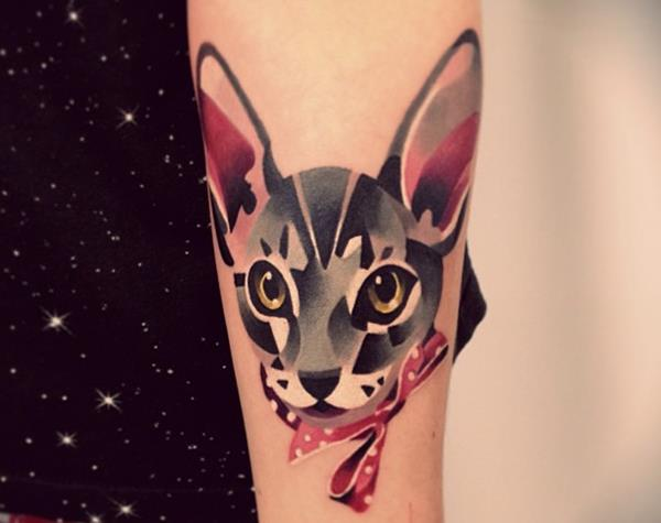 Watercolor Cat Tattoo by Sasha Unisex