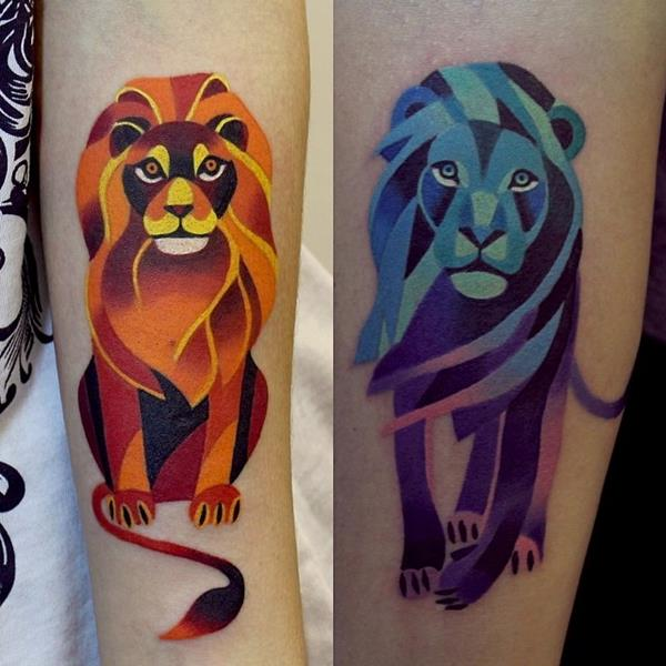 Watercolor Lion Tattoo by Sasha Unisex
