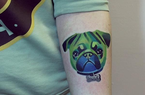 Watercolor Pug Tattoo by Sasha Unisex