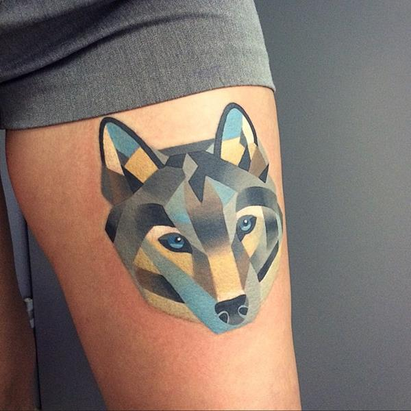 Watercolor Wolf Tattoo by Sasha Unisex